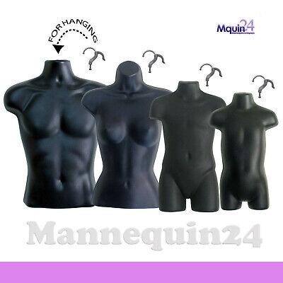 4 Black Mannequin Torsos Set - Male Female Child Toddler Torso Forms