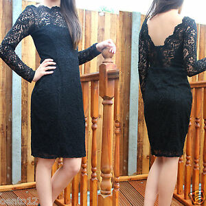NEXT-Premium-Black-Vintage-Inspired-Lace-Open-Back-Bodycon-Wiggle-Cocktail-Dress