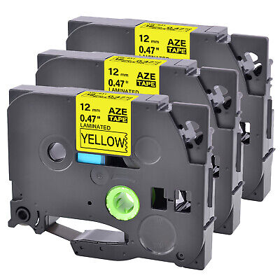 3pk 12 Tz Tze 631 Label Tape Black On Yellow For Brother P-touch Pt-d600vp
