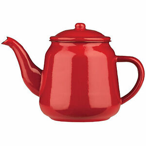 red 900ml enamel teapot vintage loose leaf tea coffee pot. Black Bedroom Furniture Sets. Home Design Ideas