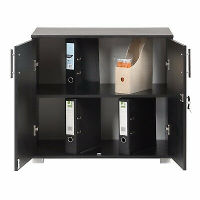 Black Office Storage Filing Cupboard Desk Height Lockable ...