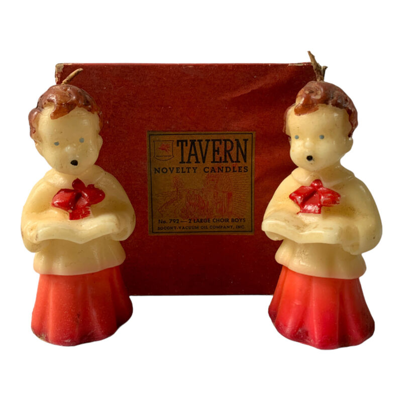 Vintage Tavern Candles LG Choir Boys Set Of 2 In Box #792 Christmas Novelty