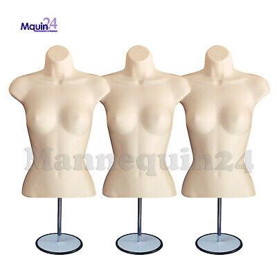 3 Pack Torso Dress Form Mannequin Female Flesh 3 Metal Stands 3 Hangers