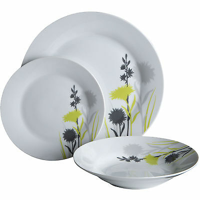 12 Piece Meadow Dining Porcelain White Green Tableware Dinner Plate Bowl Set New