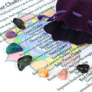 Chakra Healing Crystals Set Reiki Natural Tumblestones 7 Stones in Velvet Pouch