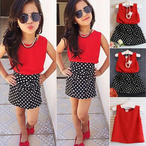 Baby Kinder Mädchen Sommer Outfits Tantop T Shirt + Rock Kleider Kleidung Sets