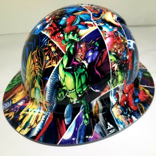 FULL BRIM Hard Hat custom hydro dipped , NEW SUPER HEROES END GAME NEW PYRAMEX 3
