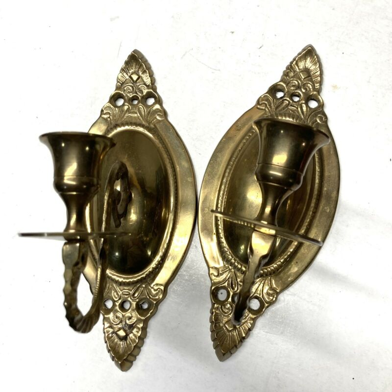 Brass Wall Sconce Candle Holders Made In India Floral Vintage Victorian Lot Of 2