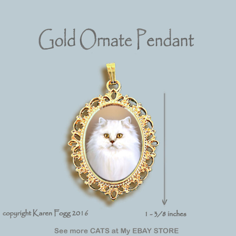 PERSIAN WHITE LONGHAIR CAT - ORNATE GOLD PENDANT NECKLACE