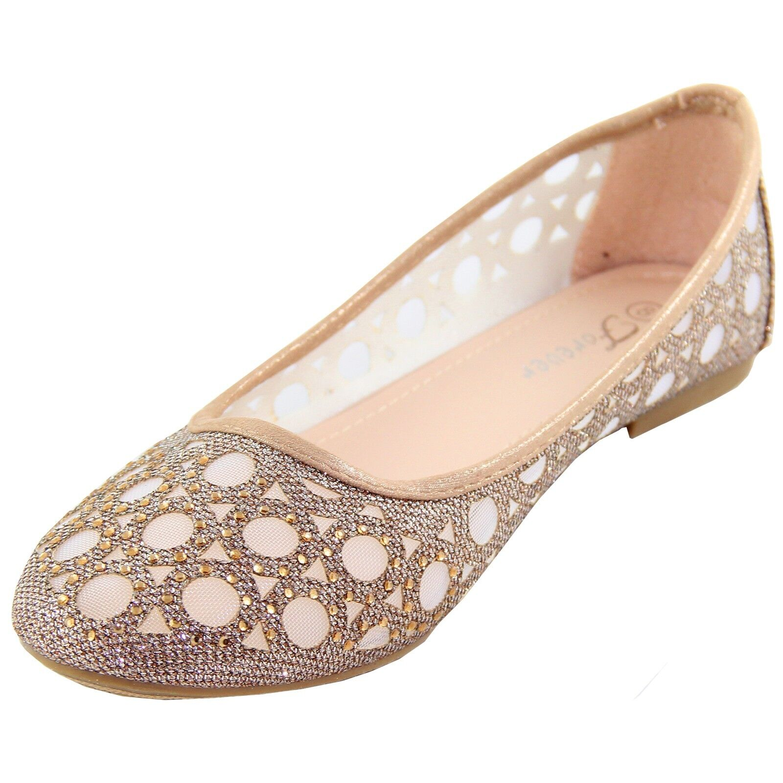 New women's shoes blink ballet flats mesh finish casual summer beige champagne
