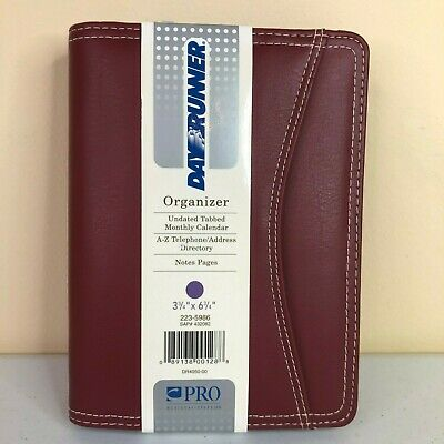 Day Runner Pro Business System Burgundy Organizer Full Zip Faux Leather 2006
