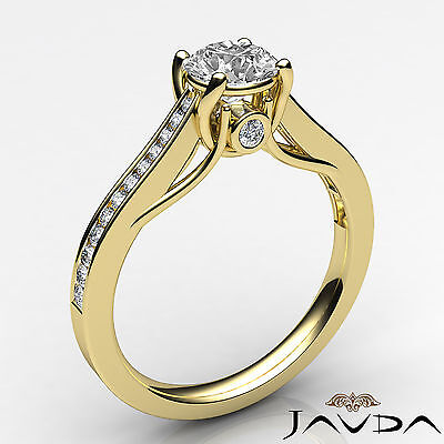 Channel Set Round Shape Diamond Engagement Ring GIA E VS2 18k Yellow Gold 0.8Ct 1