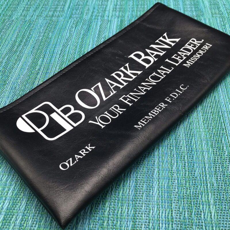 Vtg Money Cash Deposit Bag Ozark Bank Missouri MO Black w Metal Zipper