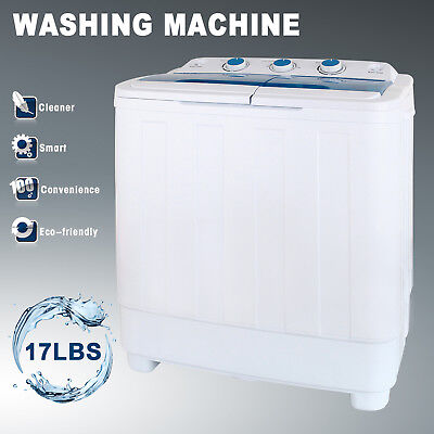 Shirt-pocket Washing Machine 17LBS Mini Compact Twin Tub Laundry Washer Spin Dryer