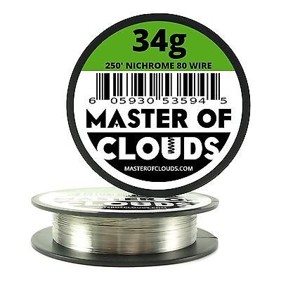 Nichrome 80 - 250 ft. 34 Gauge AWG Round Resistance Wire 0.16 mm 34g GA 250'