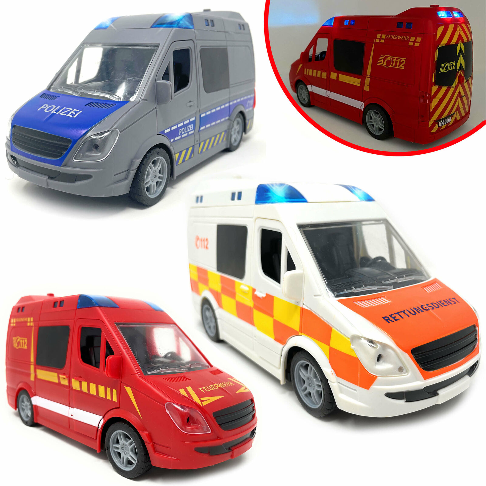 Spielzeug Krankenwagen Polizeiauto Feuerwehr Sound Licht Blaulicht Rettungswagen