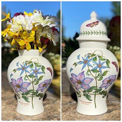 """Portmerion Botanic Garden 12"""" Lidded Covered Ginger Jar / Vase Clematis Florida"""