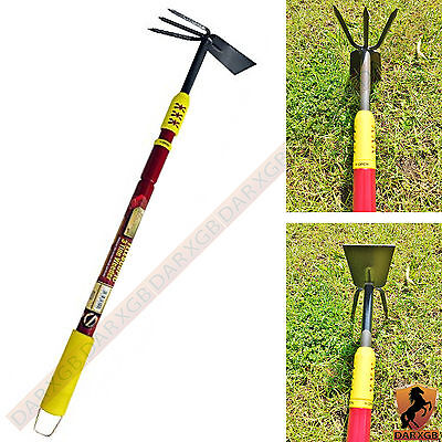 Kingfisher Pro Gold Deluxe Telescopic 3 Tine Weeder Prong And Hoe Double Headed
