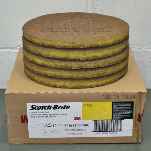 "(5) 3M Scotch-Brite Clean & Shine Pad 09551, 11"" Diameter, Yellow, 175-600 RPM"