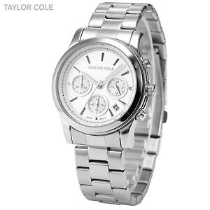 Taylor Cole Silver Chronograph Date Display Lady Women Analog Quartz Wrist Watch