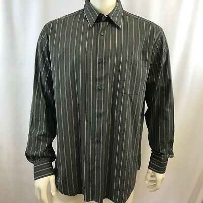 Joe by Joseph Abboud Men's Shirt Cotton Dark Gray Textured Stripes