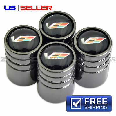CADILLAC RACING VALVE STEM CAPS WHEEL TIRE BLACK CHROME - US SELLER VE69
