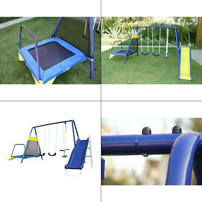 Childs Slide And Swing - almansor metal swing, slide and trampoline set | playground outdoor kids playset