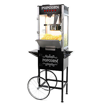Paramount 16oz Commercial Popcorn Maker Machine Cart - 16 Oz Popper Black