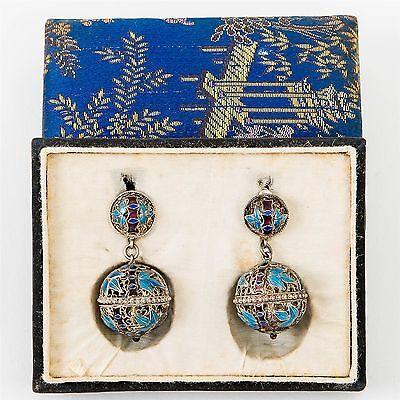 Antique Chinese Perfume Earrings Silver Filigree & Blue Enamel Dangle Screw-post