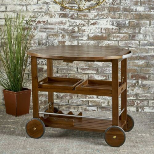 Cyndy Farmhouse Cottage Dark Oak Acacia Wood Bar Cart Bar Carts & Serving Carts