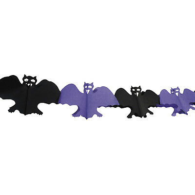 4m Haunted Halloween Gothic Black Purple Bats Hanging Paper Garland Decoration