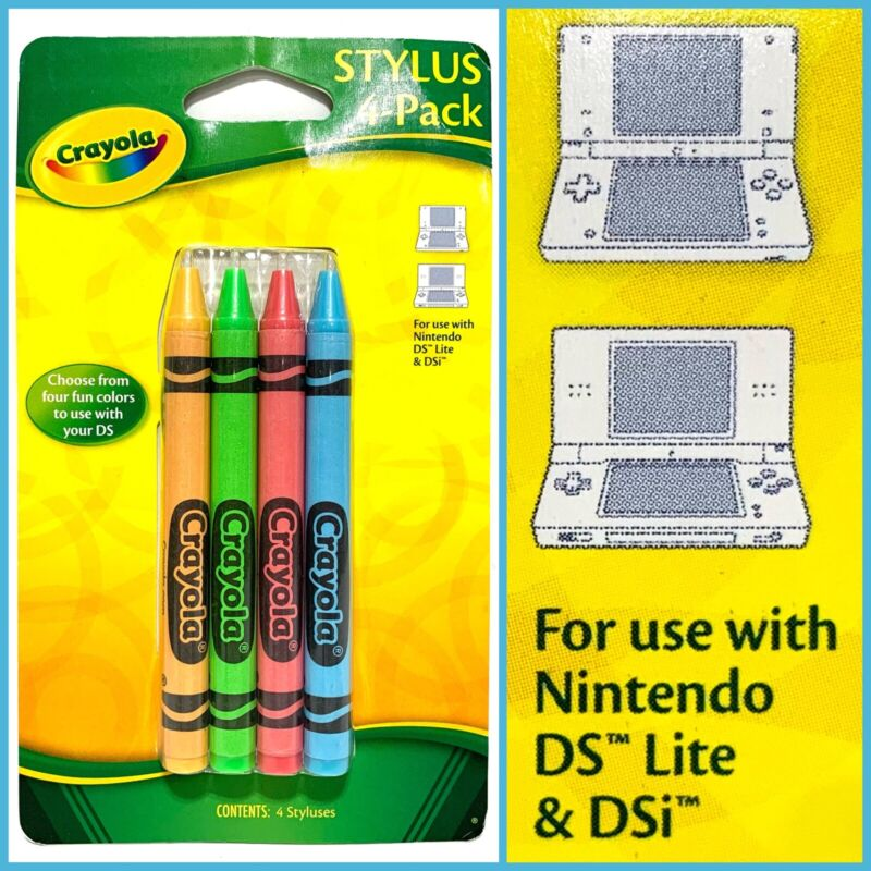 Nintendo DS Lite DSi Stylus Crayola Crayon 4 Pack Set Rare Out of Stock NEW