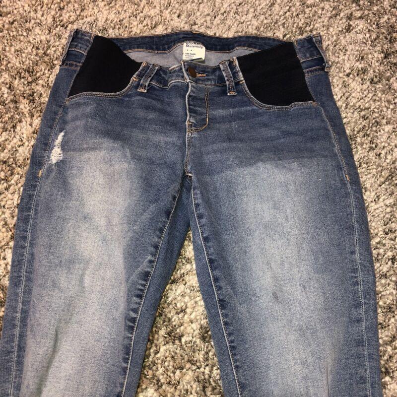 Old Navy Maternity Distressed Medium Wash Side Panels Rockstar Skinny Jeans