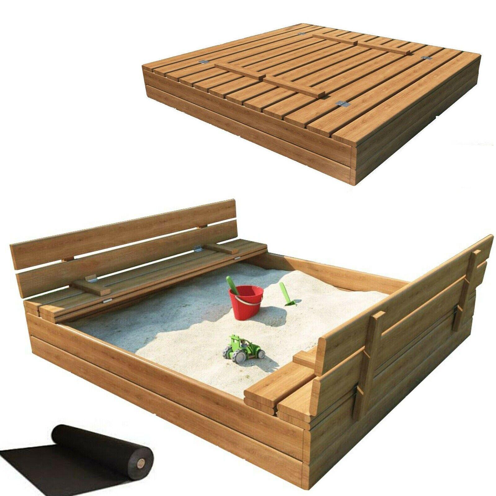 Sandkasten Sandbox mit Deckel SITZBÄNKEN Sandkiste 120x120CM Holz