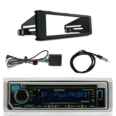 Kenwood KMRD372BT Marine CD Bluetooth Radio, Harley Dash Kit, Antenna
