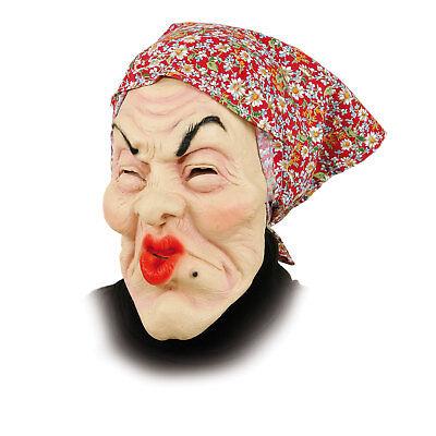 Maske alte Frau mit Kopftuch Oma lustig knutsch Großmutter Karneval Hexe Larve