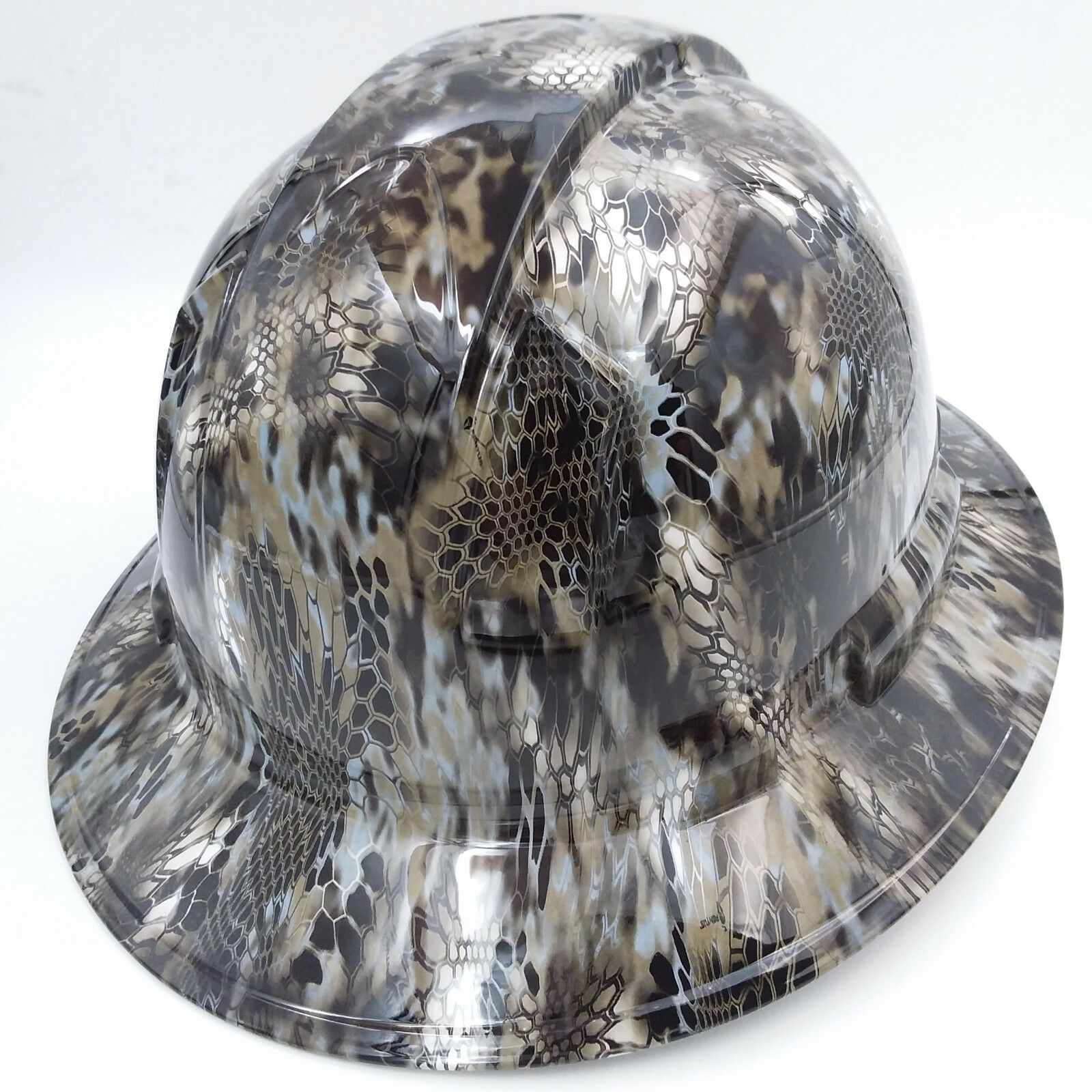 Hard Hat FULL BRIM custom hydro dipped , OSHA approved KRYPTEK NEPTUNE CAMO NEW 3