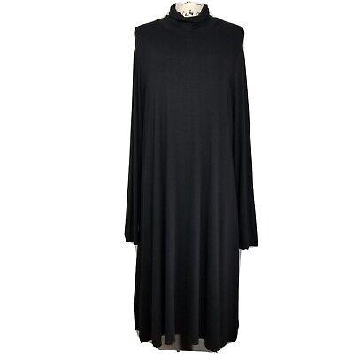 Eileen Fisher Women  Black Rayon Stretch Jersey Turtleneck Dress Size L LS Flaw
