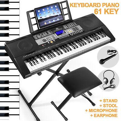 61-Key Digital Piano Electronic Keyboard Portable Headphone Microphone W/Stand