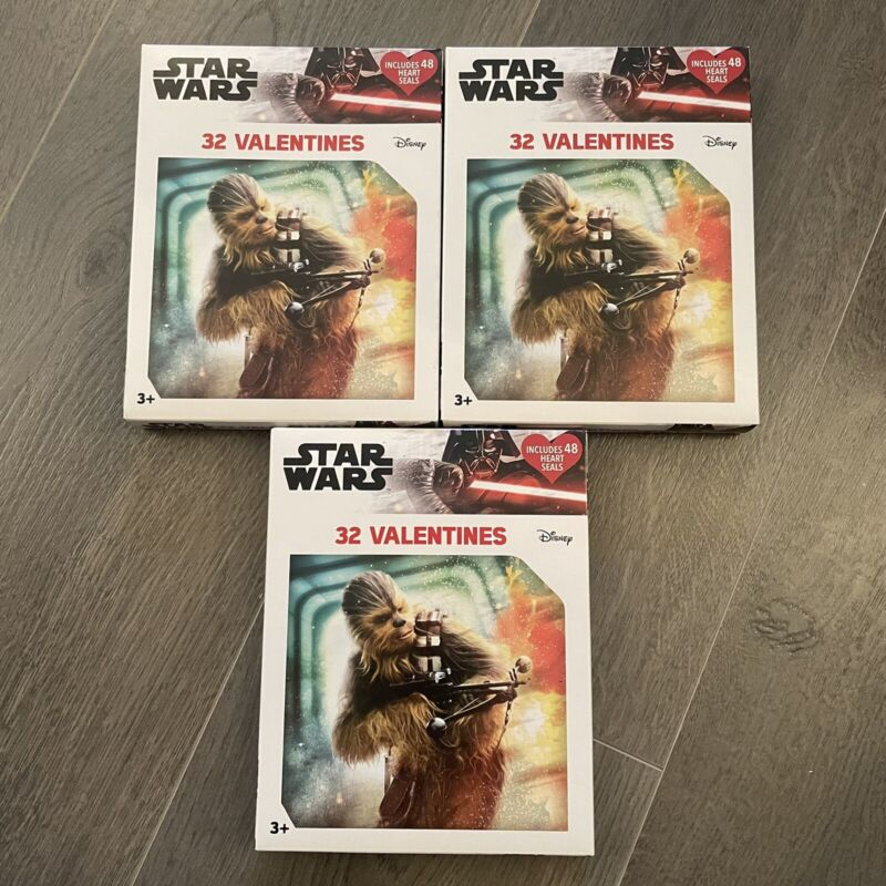 (Lot Of 3) Star Wars Disney Valentine Cards 48 Count & Heart Shaped Stickers