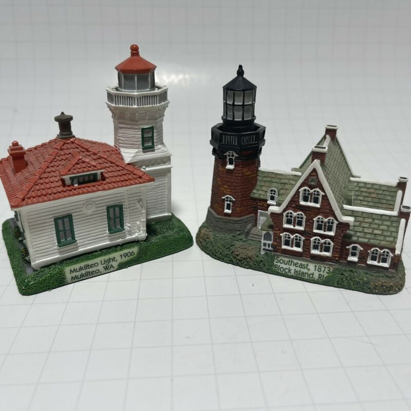 Lighthouse Lot Of 2 Geo Z. Lefton Figurines Block Island & Muckilteo Light