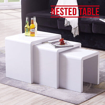 Nest of 3 Coffee Table High Gloss White MDF Rectangle Side/End Nested Tables