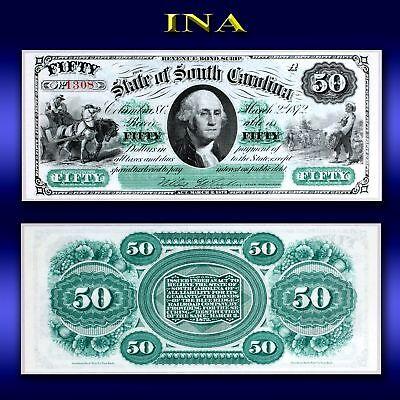 State of South Carolina 1872 $50 Currency Gem Unc Nice Margins & Registration