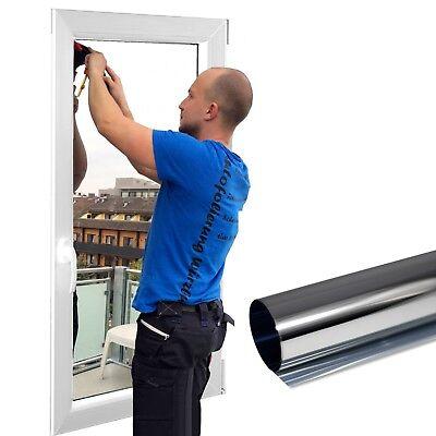 6,9€/m² Premium Spiegelfolie Silber Sonnenschutzfolie Fensterfolie 100cm x 152cm
