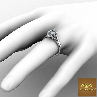Halo Split Shank French Pave Pear Diamond Engagement Ring GIA Color E VS1 0.92Ct 3