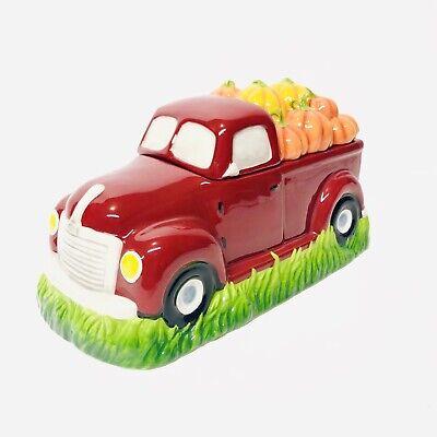 Farm Pumpkin Truck Cookie Jar Stoneware Cracker Barrel Red