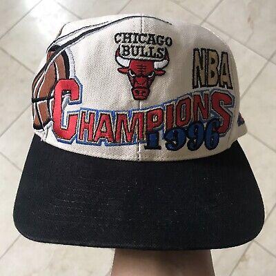 Vintage Chicago Bulls NBA Snapback Hat 1996 Championship Logo Athletic Rare