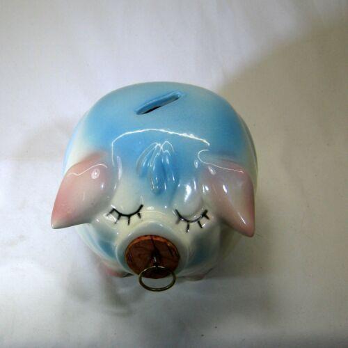 Vintage Hull Pottery 1957 Corky Pig Piggy Bank Pink Blue w/ Cork