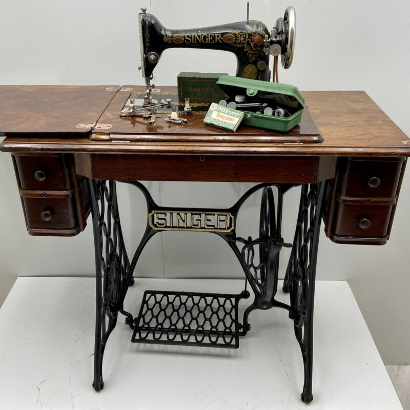 "Singer Model 66 ""Red Eye"" Sewing Machine & 5 Drawer Treadle Cabinet"
