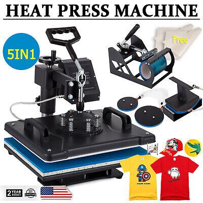 Digital 5 In 1 Heat Press Machine Swing Away Sublimation T-shirt Mug Plate Hat